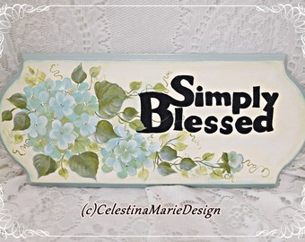 Simply Blessed Light Aqua Hydrangea Wood Sign, Hand Painted Original Design, Wall Decor, Display, ECS