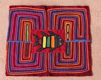 Primitive Fish Mola on Geometric - Kuna Indian Handmade Indigenous Textile Art