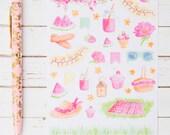 Spring Pink Lemonade Watercolors GLOSS Sticker Sheet | For Kikki K, Erin Condren, FiloFax or Bullet Journals and Planners