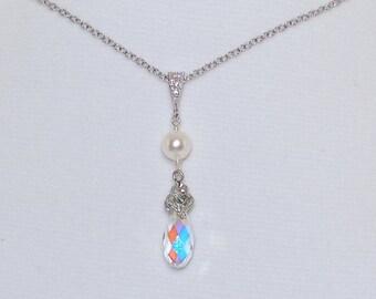 Swarovski Crystals Bridal Necklace Pearl Crystal Silver Wedding Jewelry Dangly Pendant Teardrop Bridesmaids Gift Sets