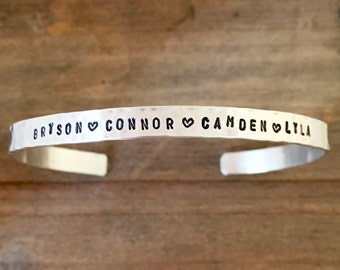 Sterling Silver Custom Name Bracelet - Childrens Names Cuff Bracelet - Personalized Jewelry - Hammered - Gift for Mom Wife or Grandma