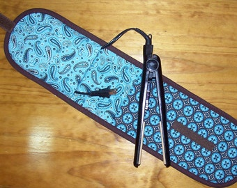 Curling Iron Case / Flat Iron Cover / Heat Resistant (Insulated) For Travel, Storage, or the Gym / Teal And Brown Tiles