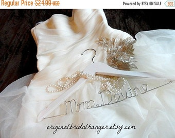 20% OFF SALE Personalized Wire Hanger Wedding Dress Hanger Bride Hanger Bridal Name Hanger Wedding Hanger Personalized Wooden Hangers