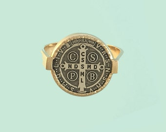 14K Gold and Sterling Silver St. Benedict Cross Medal Ring Two-Tone Saint Benedict