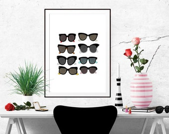 Sunglasses Fashion Illustration Art Poster