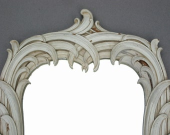 Large Syroco Wood Mirror 21 Inches High Ornate Ivory Colored Frame Chippy Cottage Chic Decor