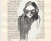 illustration, fashion illustration, book page drawing, girls with glasses, p.189
