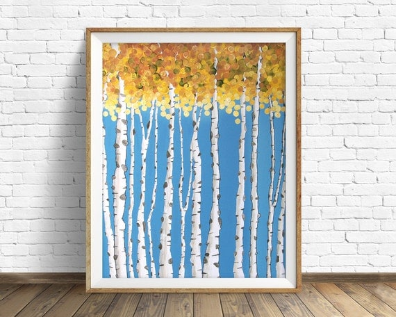 Aspen tree aspen tree art aspen leaf art print by for Aspen tree wall mural
