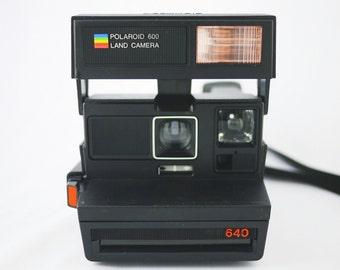 Vintage Black Polaroid 640 Land Camera (Battery Tested)