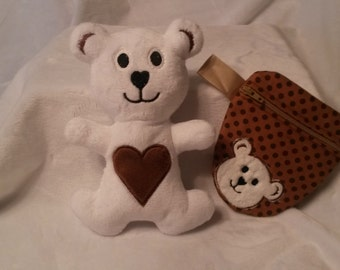 Zippered pacifier bag with Teddy plush bear