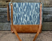 Blue Stripe Bag with Faux Leather Strap Tassel