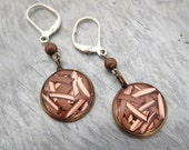 upcycled copper scrap dangle leverback earrings