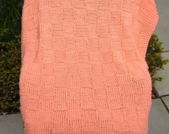 """Super Sale - Peach Checkerboard Basket ~ 35"""" x 45"""" ~ Knitted Baby / Lap Blanket - FREE SHIPPING"""