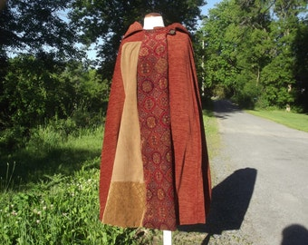 Hooded cape, lined long handmade fabric piecework cloak wrap, women medium large, men small medium, autumn colours