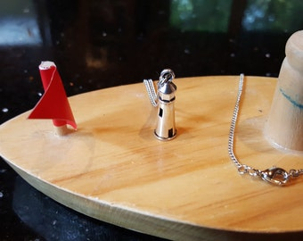 Lighthouse necklace with lobster claw clasp