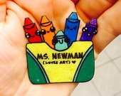 Personalized Crayon Box Brooch / Pin for Teachers and Art Teachers