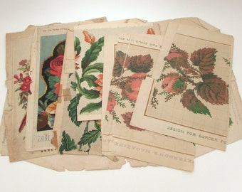 6 Antique Embroidery Patterns - Berlin Woolwork - Ladies Magazines - Vintage Cross Stitch Pattern - Needlework Patterns
