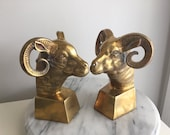 SALE - Vintage Brass Rams Head Bookends.