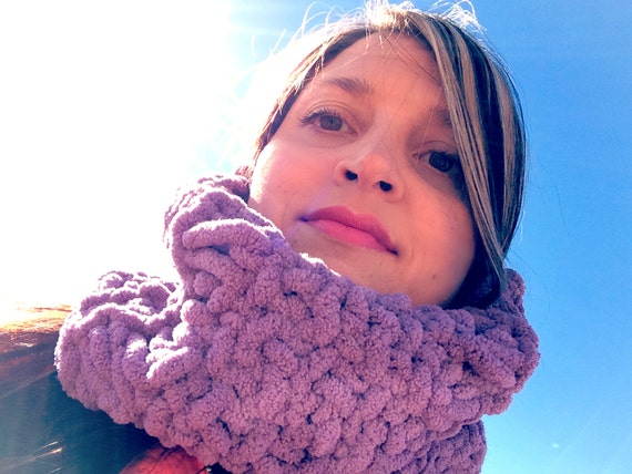 Purple Scarf Hand Knit Scarf Circle Scarf Cowl Scarf Soft Scarf for Winter Warmth