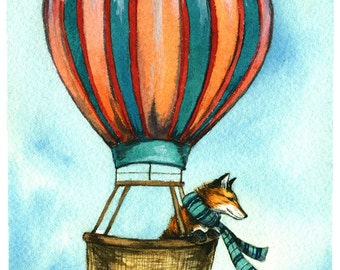 Red Fox in a Balloon - Watercolor PRINT
