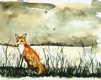 Fox and Winter Raspberries - Watercolor print