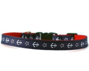 3/8 Wide Collar for Cat or Tiny Puppy in Pink and Nautical Anchors