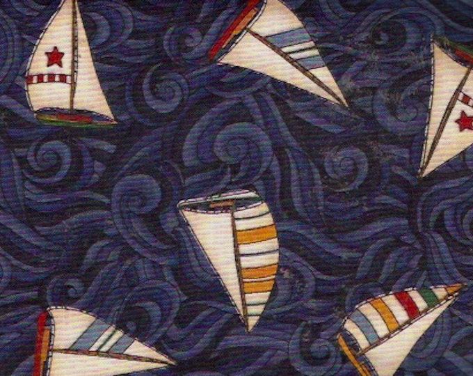 Coastal Living fabric Nautical sailing themed Moda Quilting Cotton Dark Blue with sails Sailors Yardage 42 X 120 inches Sewing Supplies