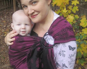 Ring Sling, Baby Carrier, Romantic Lace Lenny Lamb WCRS Wrap Conversion Ring sling -Gathered LEFT shoulder - DVD included