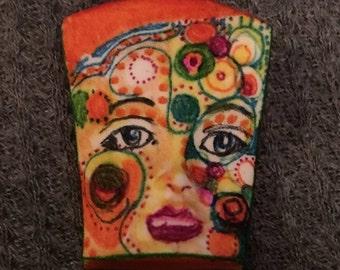 Handmade clay face  goddess  orange woman doll head  jewelry craft supplies  cabochon  mosaics dolls jewelry craft  spirit