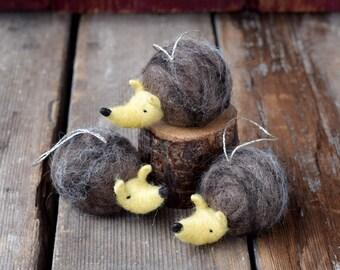 Hedgehog - Needle Felted Christmas Ornament