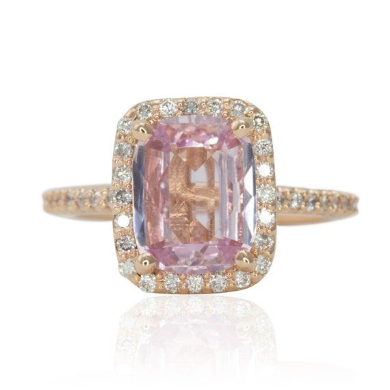Pink Sapphire Engagement Ring, Rose Gold Engagement Ring, Pink Sapphire Ring, Diamond Halo Engagement Ring, Cushion Engagement Ring - LS1673