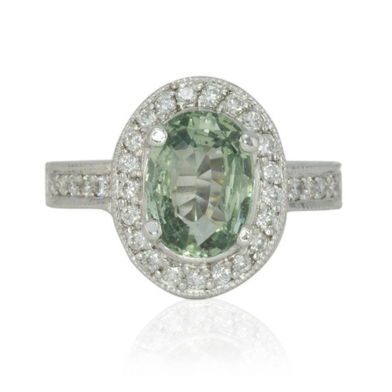 Sapphire Engagement Ring, Oval Green Sapphire Diamond Halo Engagement Ring - LS1375