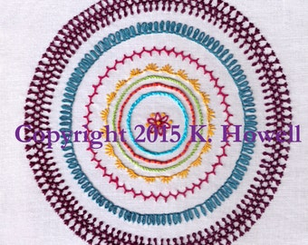 Sampler Hand Embroidery Pattern, Mandala, Sampler, Fancy, Stitches, Variety, Combination Stitches, Various, Circle Sampler, PDF