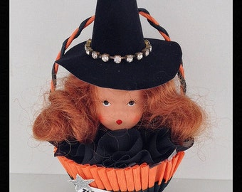 Halloween Decoration  Vintage Nancy Ann  Doll in a Crepe paper Nut Cup OOAK Halloween Ornament   TVAT