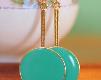Vintage Gold Tone Green enamel Dangle Earrings. Drop. Upcycle recycle repurpose, Vintage assemblage earrings.