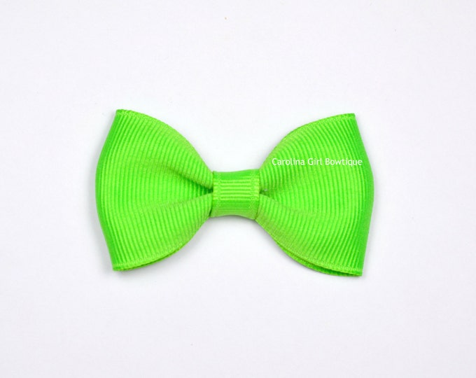 "Neon Green 2.5"" Hair Bow Tuxedo Bow ~ Simple Bow ~ Boutique Bow for Babies Toddlers Girls Hair Bows"