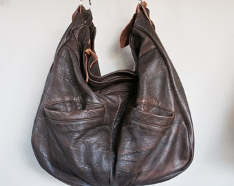 For Jenny//Muriel/// Vintage Brown Leather Jacket with Clip On Purse Strap