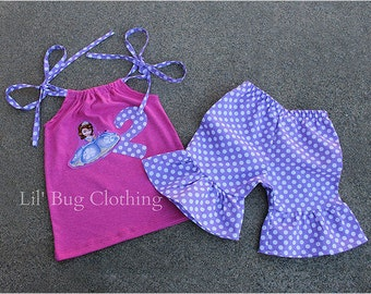 Sofia The First Birthday Outfit, Sofia The First Birthday Girl Outfit, Sofia The First Birthday Party, Custom Boutique Girl Clothes