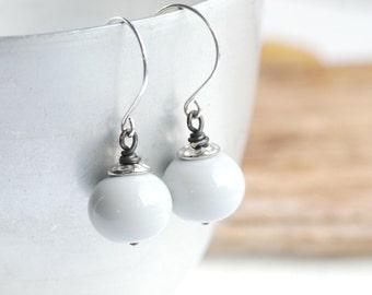 Dove Grey Earrings, Soft Pastel Earrings, Hollow Glass Jewelry, Winter Wedding Earrings, Gift for Her, Under 50, Romantic Jewelry