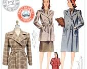 E-Pattern- Veronica 1940s Coat - Wearing History PDF Vintage Sewing Pattern 1940 40s