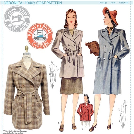 Retro Vintage Style Coats, Jackets, Fur Stoles E-Pattern- Veronica 1940s Coat - Wearing History PDF Vintage Sewing Pattern 1940 40s $12.00 AT vintagedancer.com