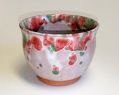 Multi Color Tea Bowl  - Wheel Thrown Pottery - Chawan - Matcha Cup - Tea Cup - Red Green and White