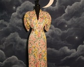 Vintage 1930s Bias Cut Textured Silk Floral Art Deco Gown - Size Large