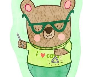 Bear with a Triangle - Bear Nursery Art, Bear Illustration, Bear Wall Art, Bear Nursery Decor, Nursery Art Illustration Print