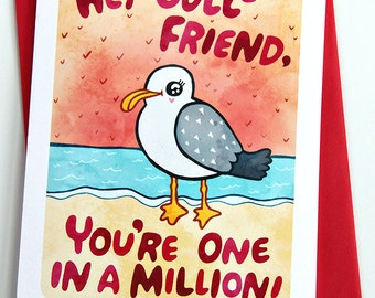 Valentine's Day Card, Anniversary Card - Hey Gull Friend - Valentines Day Card
