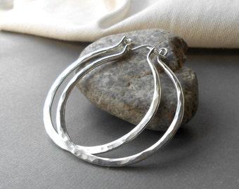 Hammered Silver Hoop Earrings, Sterling Silver Thick Hoops, Large