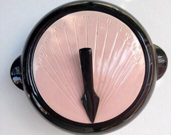 50s Casserole Dish Pink & Black SUNDIAL Kenwood Pottery 993 2qt Mid Century Pottery