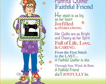 "AP6.13 - Faithful Quilter - 6"" Fabric Art Panel"