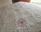 RESERVED for EM - Vintage Quilt Embroidered Sacred Geometry Circle Quilted Throw Size 1930s Hand Embroidered Collectible Antique Quilt White