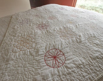 Vintage Quilt Embroidered Sacred Geometry Circle Quilted Throw Size 1930s Hand Embroidered Collectible Antique Quilt White Vintage Quilt